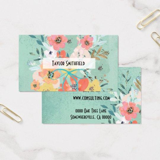 Tapeten-Geschäftskarte der BlumenBlumen Vintage Visitenkarte