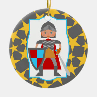 Tapferes Ritter-Jungen-Geburtstags-Party Rundes Keramik Ornament