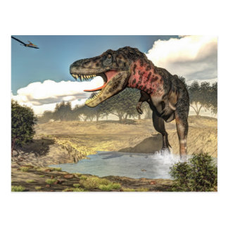 Tarbosaurus Dinosaurier - 3D übertragen Postkarte