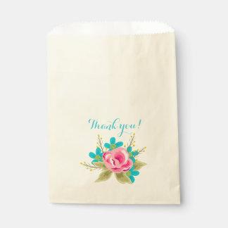 Tasche mit Blumen und Text: Danke! Geschenktütchen