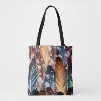 Taschentasche mit Hand-gezeichneten Federn