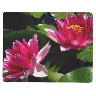 Taschenzeitschrift - rosa Wasserlilien Notizbuch