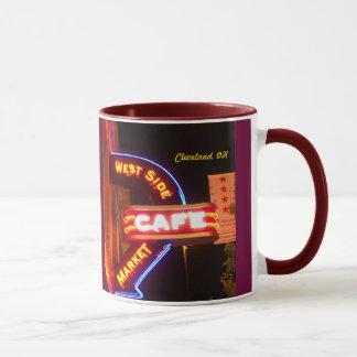 Tasse des Markt-Café-Zeichen-Neon-(Cleveland)