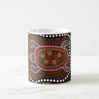 tasse mit schildkröte im aborigines stil kaffeehaferl