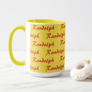 Tasse - mit Ziegeln gedeckter Name im Skript
