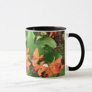 Tasse: Orange Orchideen mit Segen Tasse