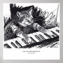 Tastatur Katze, die Plakat zeichnet