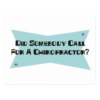 Tat jemand Anruf für einen Chiropraktor Postkarte