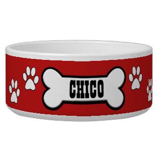 Tatze druckt rote personalisierte wassernäpfe für hunde
