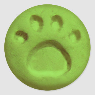 Tatzen-Druck-Punkt - Grün Runder Aufkleber