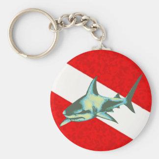 Tauchflagge mit einem Haifisch Schlüsselanhänger