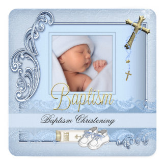 Taufe-blaue Goldkreuz-Jungen-Taufe Quadratische 13,3 Cm Einladungskarte