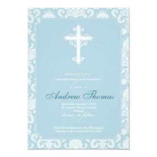 Taufe - blauer Damast 12,7 X 17,8 Cm Einladungskarte
