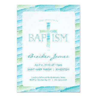 Taufe-Einladung mit Aquarell-Kreuz - Jungen Karte