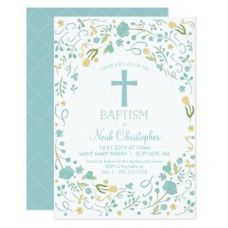 Taufe-Einladung, Taufe laden, Junge, Kreuz ein Karte