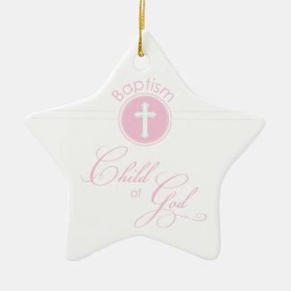 Taufe-Glückwunsch-rosa Kind des Gottes Keramik Stern-Ornament