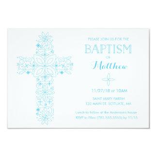 Taufe, Taufe-Einladung - blaues Kreuz 8,9 X 12,7 Cm Einladungskarte