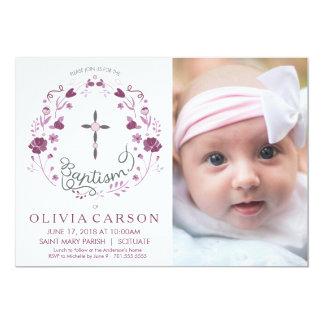 Taufe, Taufe-Foto-Einladung mit Kreuz 12,7 X 17,8 Cm Einladungskarte