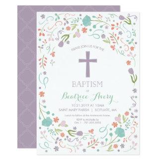 Taufe, Taufe laden - Blumen, Kreuz ein Karte