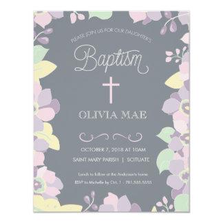 Taufe, Taufeinladung - Blumen u. Kreuz Karte