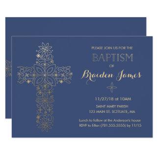 Taufe, Taufeinladung, Goldkreuz laden ein 11,4 X 15,9 Cm Einladungskarte