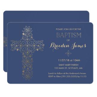 Taufe, Taufeinladung, Goldkreuz laden ein 12,7 X 17,8 Cm Einladungskarte