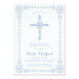 Taufe, Taufjungen-Einladungs-elegantes Kreuz Karte