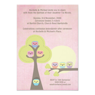 Taufe-Taufzeremonie-niedliche Eulen-Einladung 12,7 X 17,8 Cm Einladungskarte