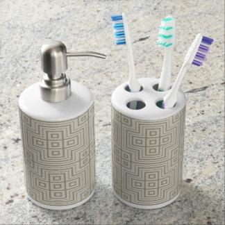 Taupe-mittelalterliche Muster-Zahnbürste u. Zahnputzbecher