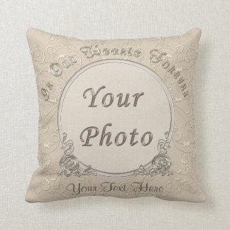Taupe personalisierte FOTO Kissen mit 2