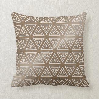 Taupe und graues modernes geometrisches Muster Kissen