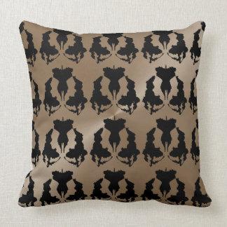 Taupe-und Schwarz-modernes einzigartiges Muster Kissen