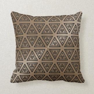 Taupe-und Schwarz-modernes geometrisches Muster Kissen