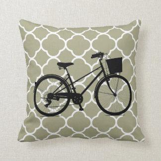 Taupe-weißes Musterfahrrad Fahrradkunst Kissen