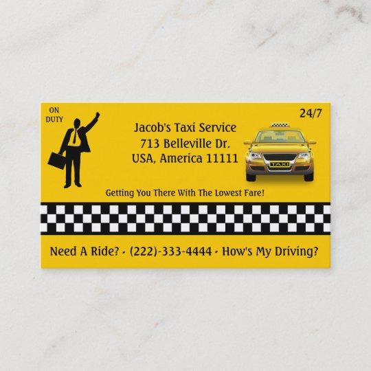 Taxi Dienstleistungsunternehmen Karte Visitenkarte Zazzle At