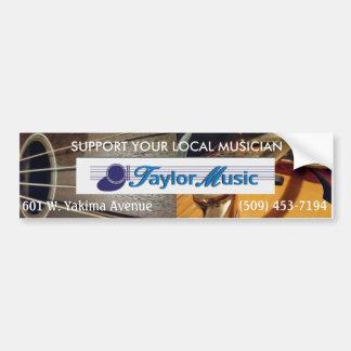 Taylor-Musik - stützen Sie Ihren lokalen Musiker Autoaufkleber
