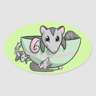 Teacup-Opossum! Ovaler Aufkleber