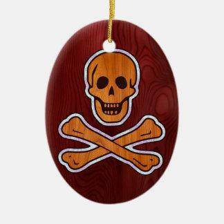 Teakholz-Einlegearbeit-Pirat Ovales Keramik Ornament