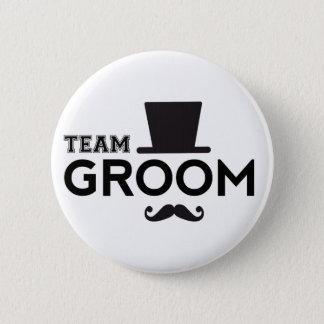 Team-Bräutigam mit Hut und dem Schnurrbart Runder Button 5,1 Cm