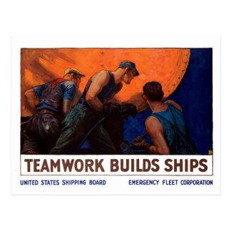 Teamwork-Gestalt-Schiffe Postkarte