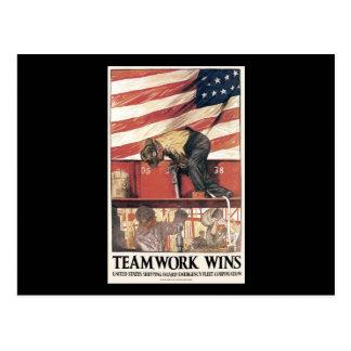 Teamwork-Gewinne Postkarte