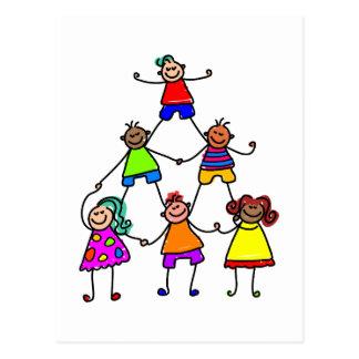 Teamwork-Kinder Postkarte