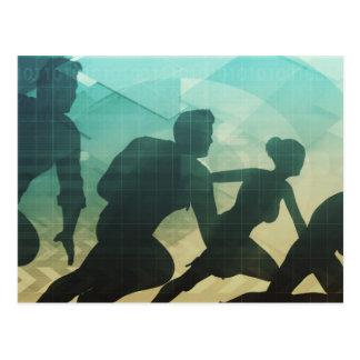 Teamwork-Konzept mit Silhouette des Postkarte