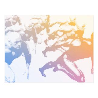Teamwork-Konzept und Leute-Laufen Postkarte