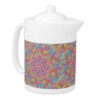 Techno färbt Kaleidoskop-Muster-Teekannen