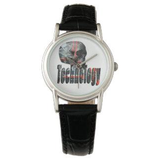 Technologie-Schädel u. Logo-Damen-schwarze lederne Uhr