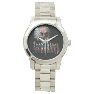 Technologie-Schädel u. Logo-große silberne Uhr