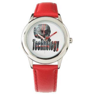 Technologie-Schädel u. Logo-Kinderrote lederne Uhr