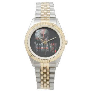 Technologie-Schädel u. Logo-Unisexzwei Ton-Uhr Armbanduhr