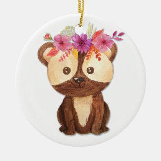 Teddy-Bär mit Blumen-Krone Rundes Keramik Ornament